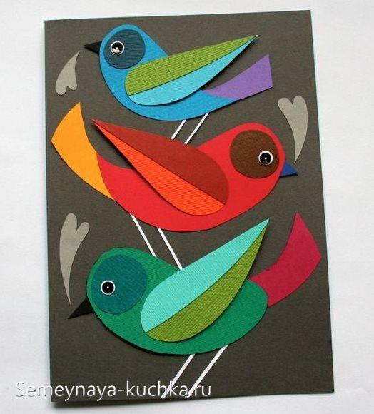 аппликации птицы красивые