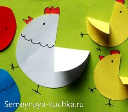 аппликации птицы курица и цыплята