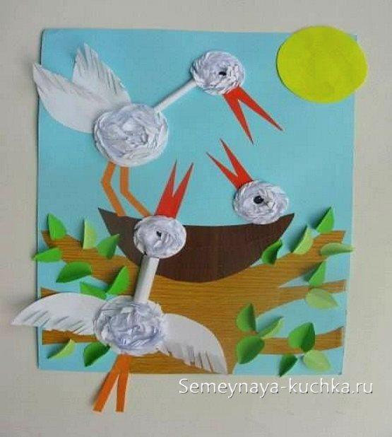аппликация птица аист детям