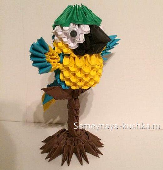поделки из модульного оригами попугай