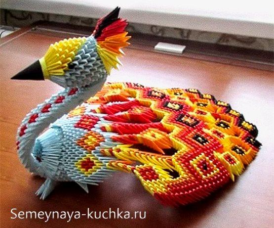 поделки из модульного оригами жар птица