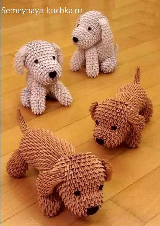 поделки из модульного оригами собачка