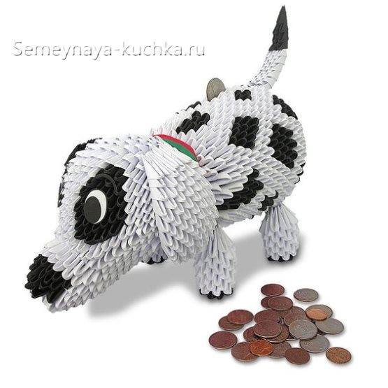 поделки из модульного оригами собака