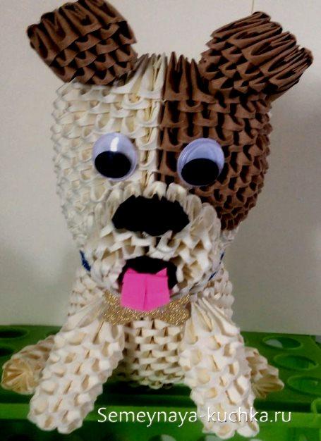 поделки из модульного оригами пес