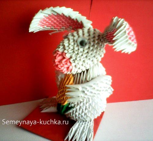 поделки из модульного оригами кролик с морковью