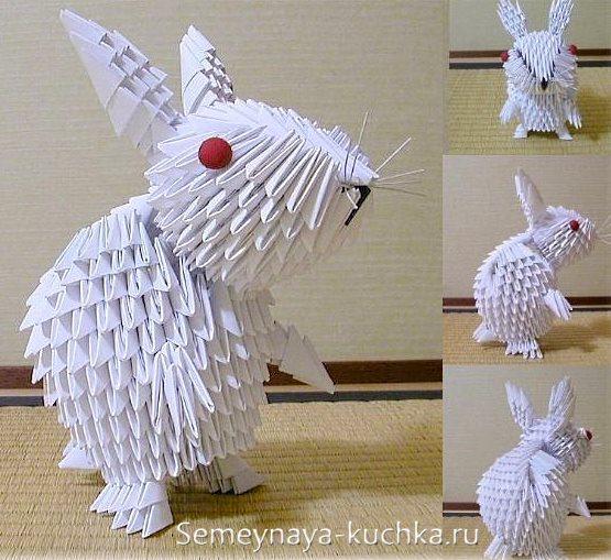 поделки из модульного оригами белый кролик