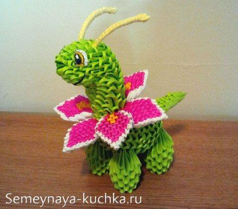 поделки из модульного оригами динозавр малыш