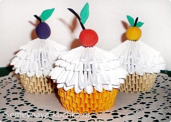 поделки из модульного оригами кекс