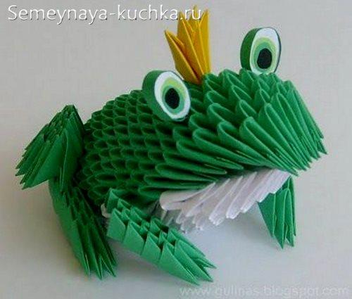 поделки из модульного оригами лягушка