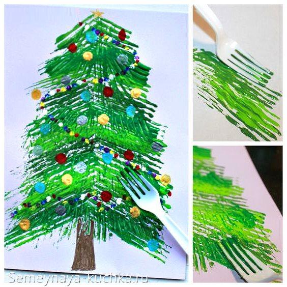 нетрадиционное рисование елка новогодняя