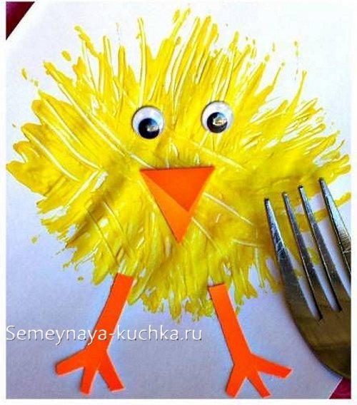 нетрадиционное рисование цыпленок
