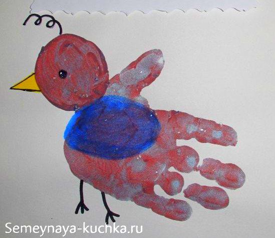 нетрадиционное рисование птичка