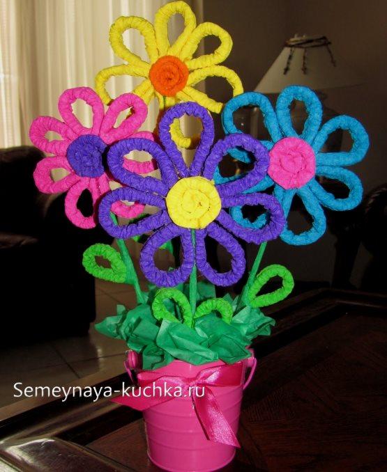 поделка цветы в горшке