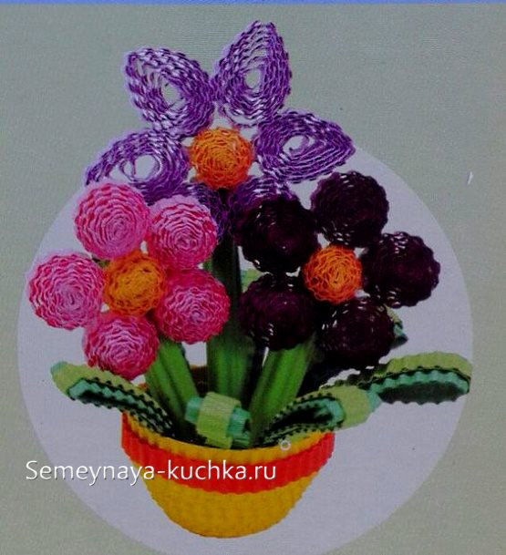 поделка цветы в горшке своими руками