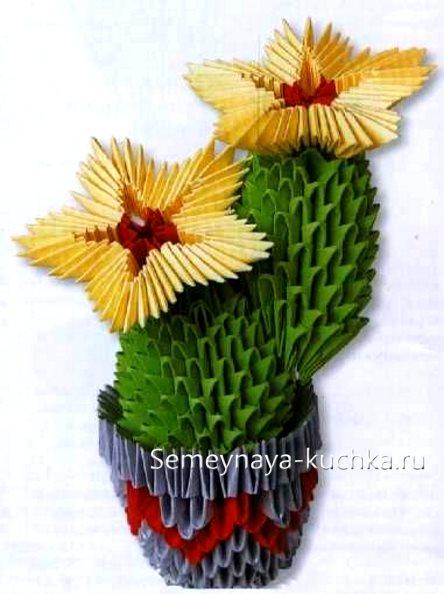 поделка модульные цветы кактус