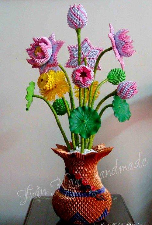 поделка букет цветов модульное оригами