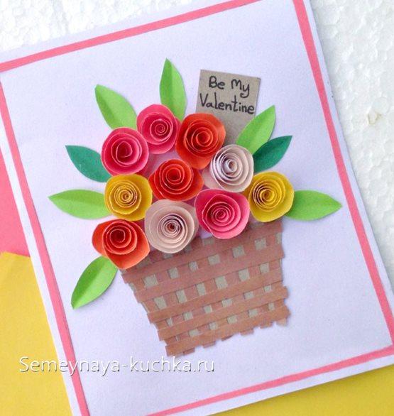 поделка цветы в корзине своими руками