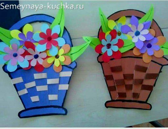 поделка корзинка с цветочками