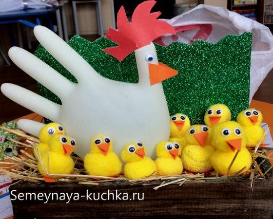 поделка курица и цыплята для детского сада