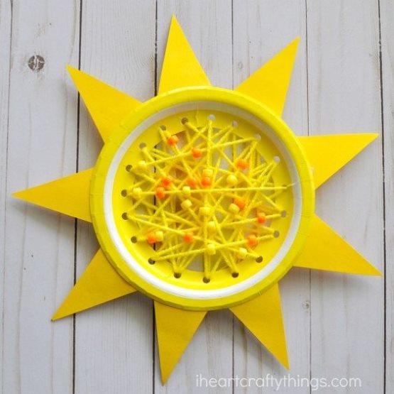 поделка из тарелки солнышко