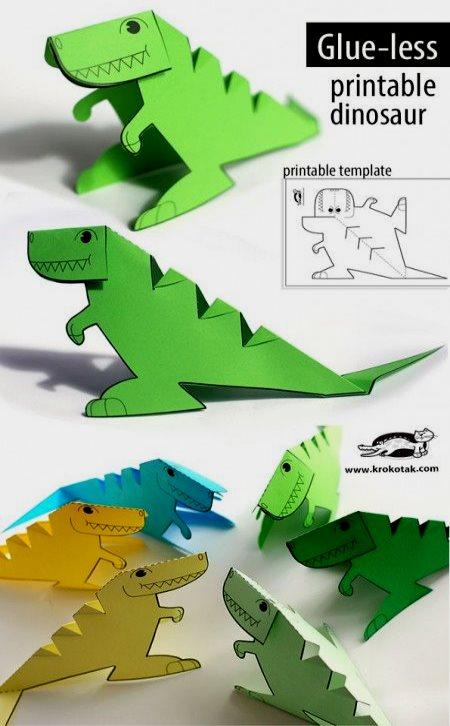 динозавр из бумаги для мальчиков