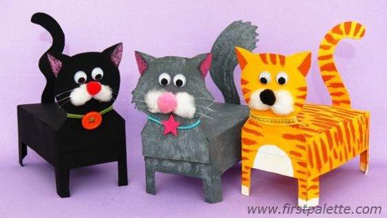объемная поделка кот и коты