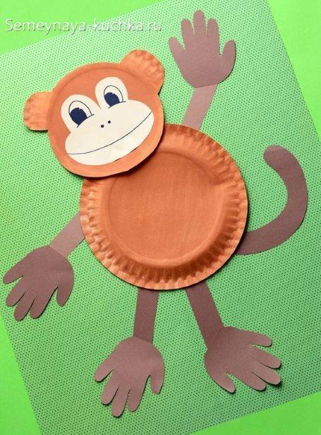 поделка обезьяна из тарелок