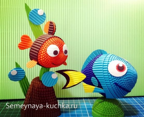 поделка в садик рыбки из картона