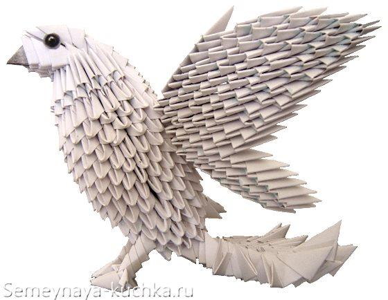 птица голубь из модульного оригами