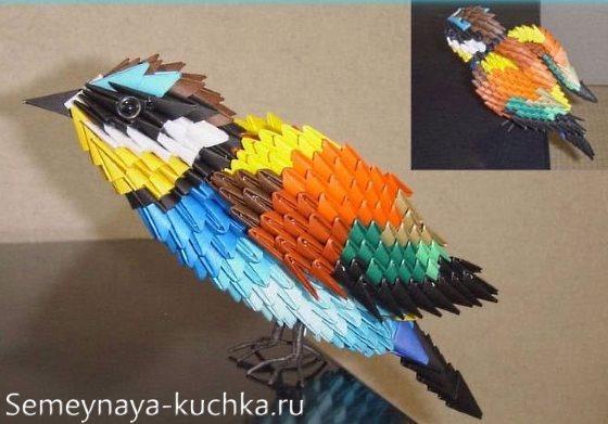 птица из бумажных модулей