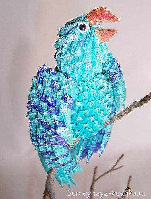 поделка попугай из модульного оригами
