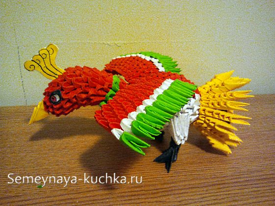 поделка птица из модульного оригами