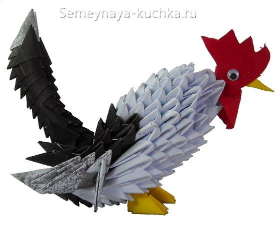 петух из модульного оригами