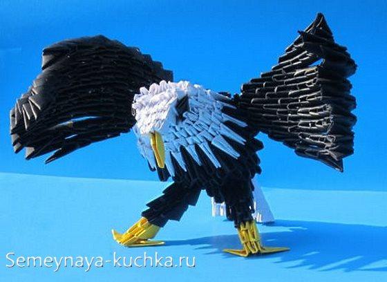 птица орел из модульного оригами