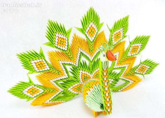 павлин из модульного оригами