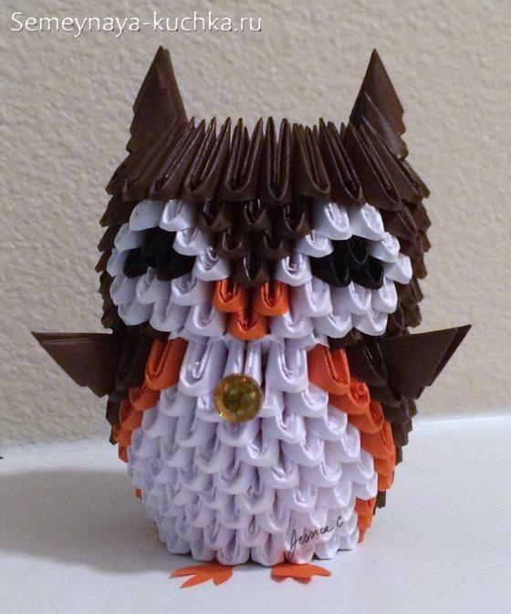 поделка сова из модульного оригами