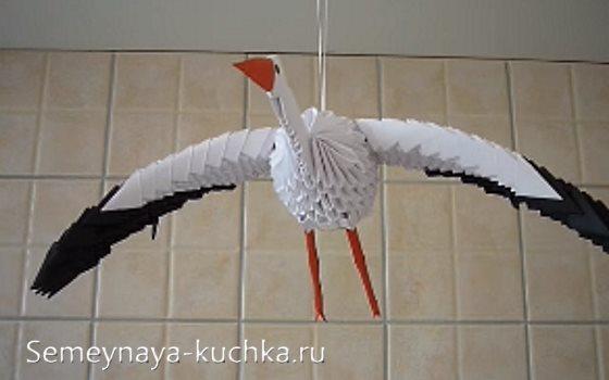 аист птица из модульного оригами