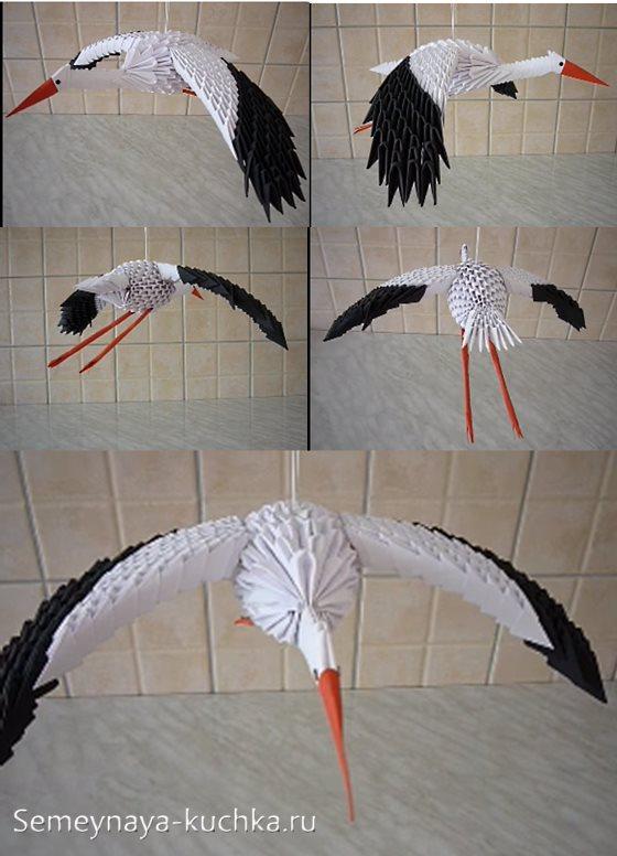 аист из модульного оригами