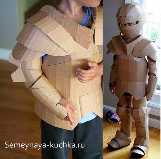 рыцарский костюм из картона для мальчика