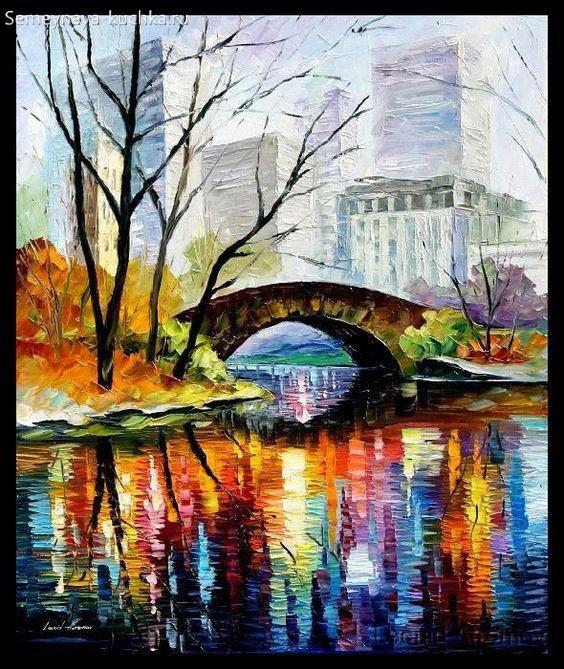 картина осень в городе над рекой