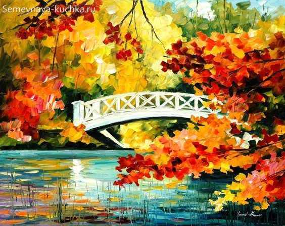 картина осень деревья у реки