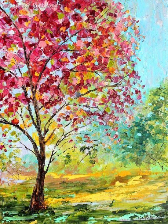 картина осеннее дерево маслом