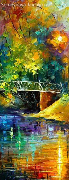 картина осень над рекой мост