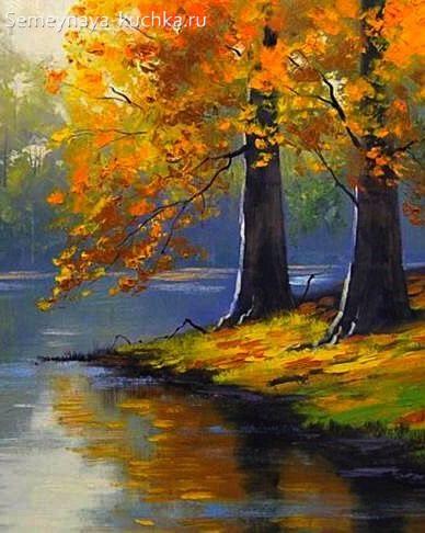 картина осенние деревья на берегу