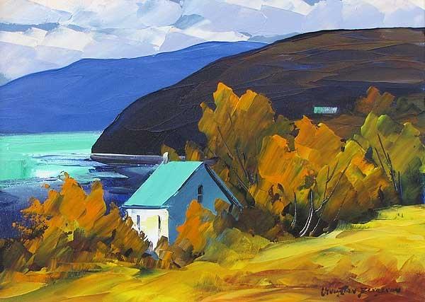 картина осень у реки