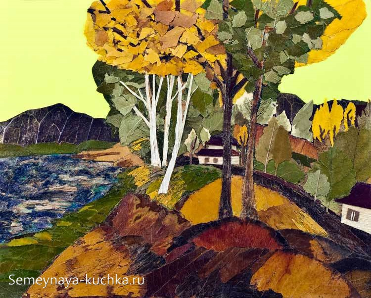 картины поделки из листьев