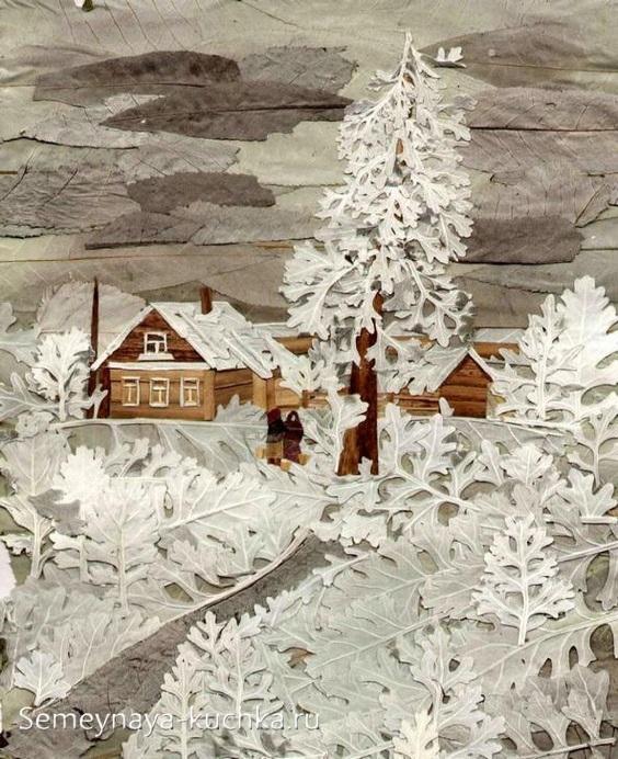 поделки из листьев зима