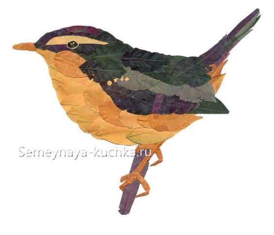 поделки из листьев птица