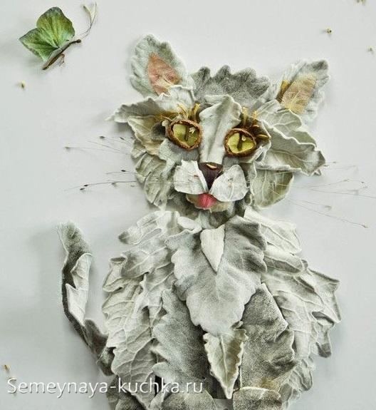 поделки из листьев кот