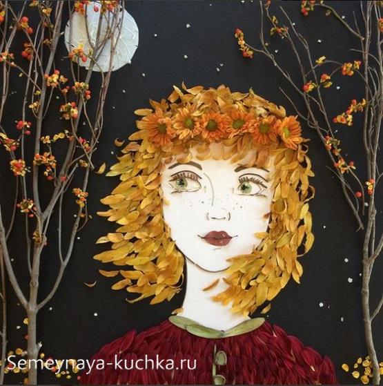 портрет поделки из листьев